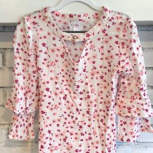 Girls Ruffle Sleeve Floral Blouse